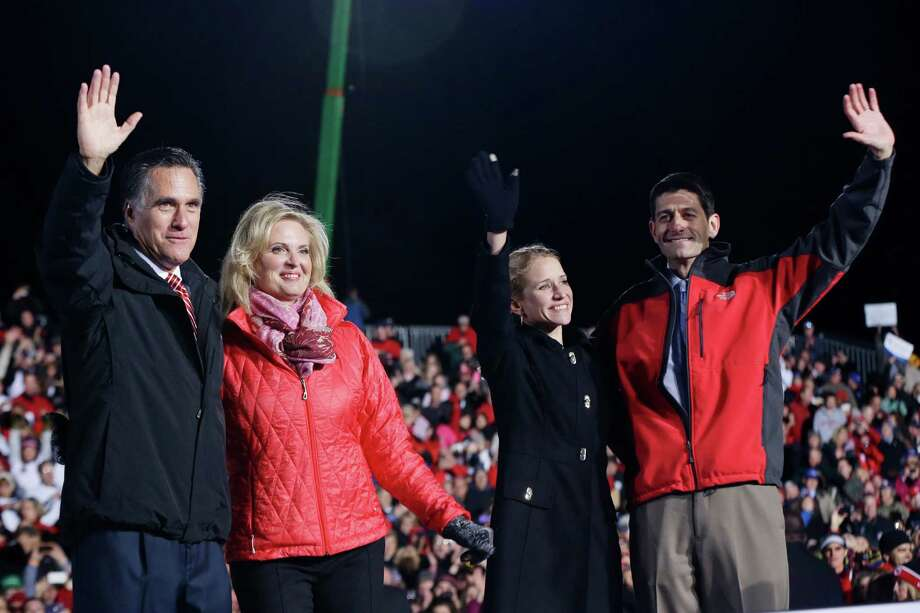 Republican presidential candidate and former Massachusetts Gov. Mitt Romney, his wife Ann Romney, Republican vice presidential candidate Rep. Paul Ryan, and his wife Janna Ryan campaign at The Square at Union Centre in West Chester, Ohio, Friday, Nov. 2, 2012. (AP Photo/Charles Dharapak) Photo: Charles Dharapak, Associated Press / AP