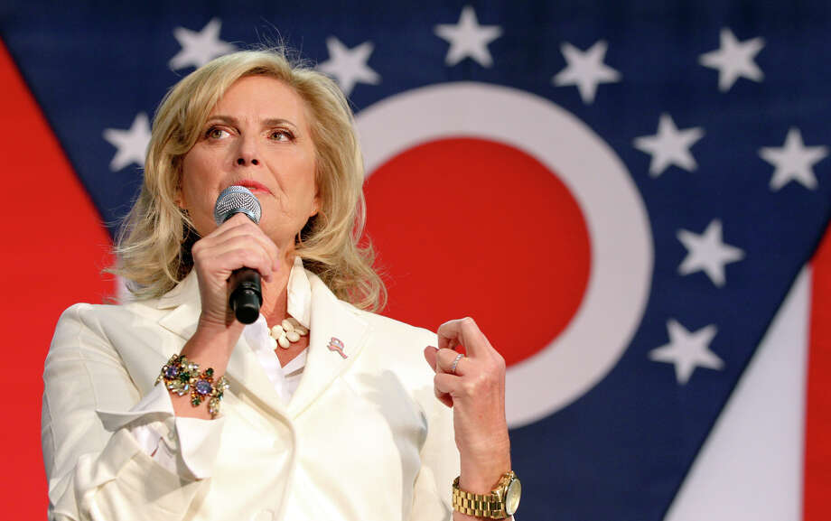 Ann Romney, wife of Republican presidential candidate Mitt Romney, speaks during a campaign stop at Vinylmax in Hamilton, Ohio on Wednesday, Oct. 31, 2012.  (AP Photo/The Journal-News, Greg Lynch) Photo: Greg Lynch, Associated Press / The Journal-News