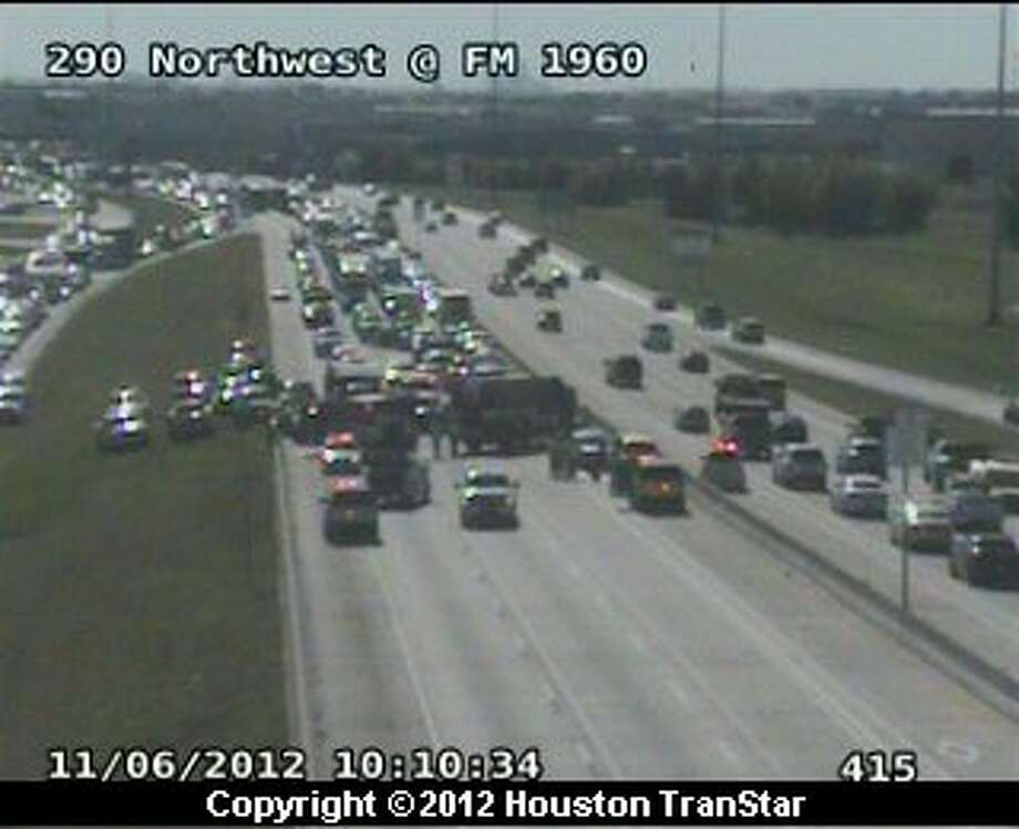 Traffic was snarled on westbound U.S. 290 near FM 1960 after a traffic crash Tuesday morning. Photo: Houston Transtar