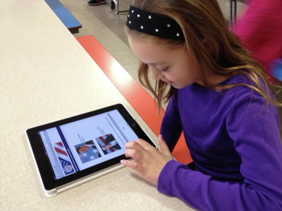 Students at Slingerlands Elementary School used iPads to vote in the mock election.