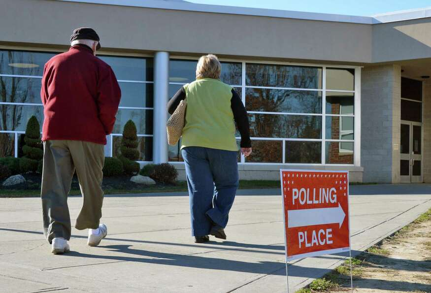 Voters are on their way to the polls Tuesday at Schalmont High School in Rotterdam. (John Carl D'Ann