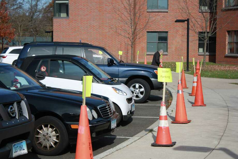 Voter parking at Darien High School, District 5, is packed. Nov. 6, 2012. Photo: Megan Davis