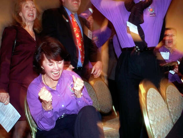 San Antonio Sports Foundation Executive Director Susan Blackwood screams with joy Saturday night Oct. 23, 1999 in Colorado Springs, Colo. as the United States Olympic Committee announces San Antonio as the U.S. candidate city for the 2007 Pan American Games. Photo: WILLIAM LUTHER, EN / EN