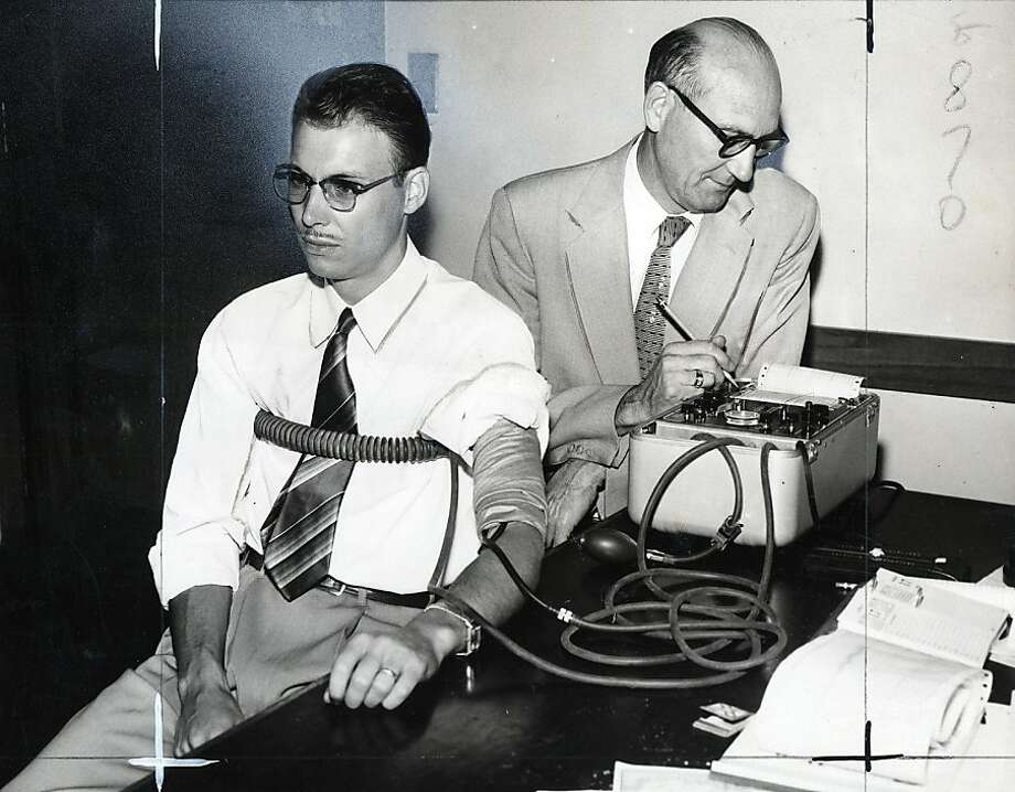 For two days, Burton Abbott voluntarily underwent lie detector tests given by Berkeley Inspector A. E. Riedel.  San Francisco Chronicle File Photo  July 21, 1955 Photo: Gordon Peters, Handout