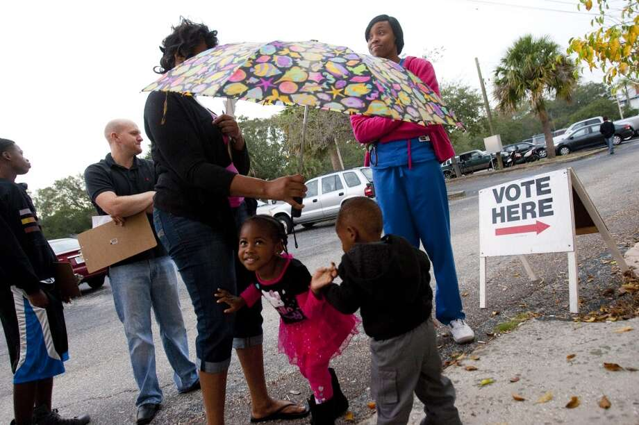 ST. PETERSBURG, FL -  NOVEMBER 6:  Voters wait to cast their ballots on November 6, 2012 in St. Petersburg, Florida. The swing state of Florida is recognised to be a hotly contested battleground that offers 29 electoral votes, as recent polls predict that the race between U.S. President Barack Obama and Republican presidential candidate Mitt Romney remains tight.  (Photo by Edward Linsmier/Getty Images) (Getty Images)