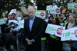 Supporters of the Prop. 30 school tax initiative rally around Jerry Brown after the governor voted near his home in Oakland, Calif. on Tuesday, Nov. 6, 2012.