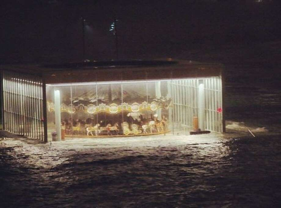 Instagram renders Jane's Carousel in New York's Brooklyn Bridge Park, submerged by superstorm floodwaters, as an even more surreal sight. Photo: Ana Andjelic, Associated Press