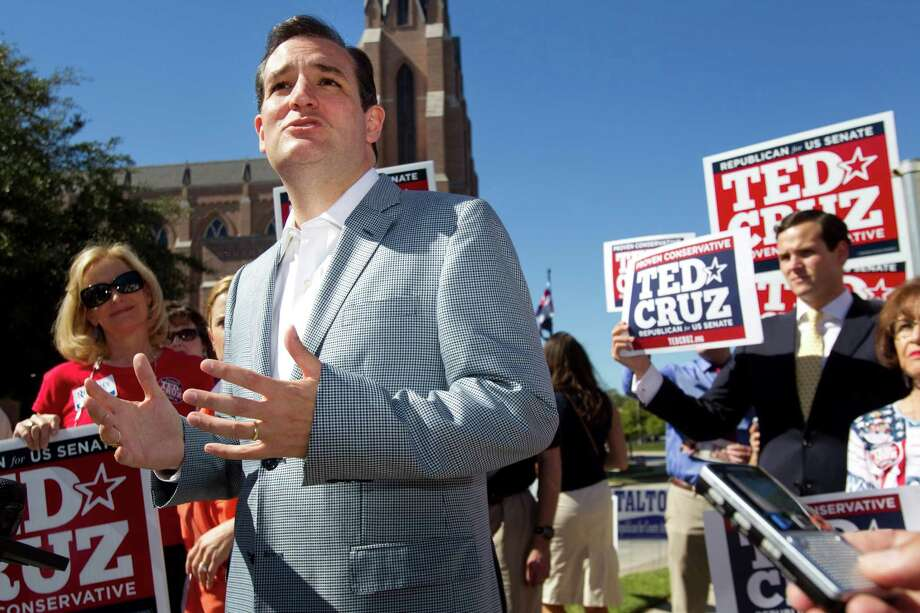 Ted Cruz, Republican candidate for U.S. Senate, speaks to supporters during a campaign stop outside St. Martin's Episcopal Church Tuesday, Nov. 6, 2012, in Houston. Photo: Brett Coomer, Houston Chronicle / © 2012 Houston Chronicle