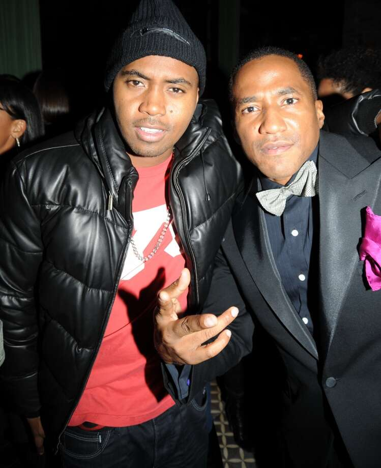 "Nas and Q-Tip (Rappers) at the Bowery Hotel for Q -Tip's  album  ""Renaissance"" release party INDESIGN-WC (ALL)"