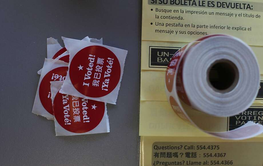 """I Voted!"" stickers are seen at Cordova Market and Deli on Tuesday, November 6, 2012 in San Francisco, Calif. Photo: Lea Suzuki, The Chronicle"