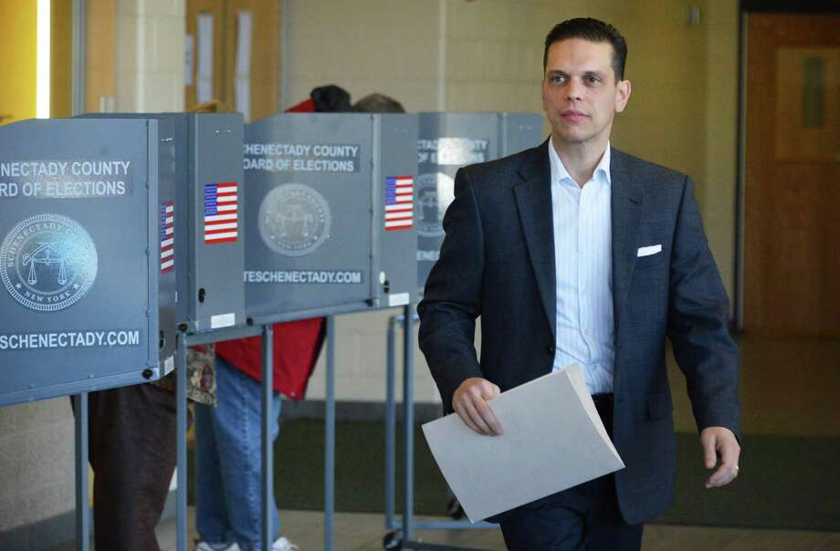 Candidate for the 111th Assembly district, Angelo Santabarbara votes at Schalmont High School in Rotterdam Tuesday Nov. 6, 2012.  (John Carl D'Annibale / Times Union) Photo: John Carl D'Annibale, Albany Times Union / 00019979A