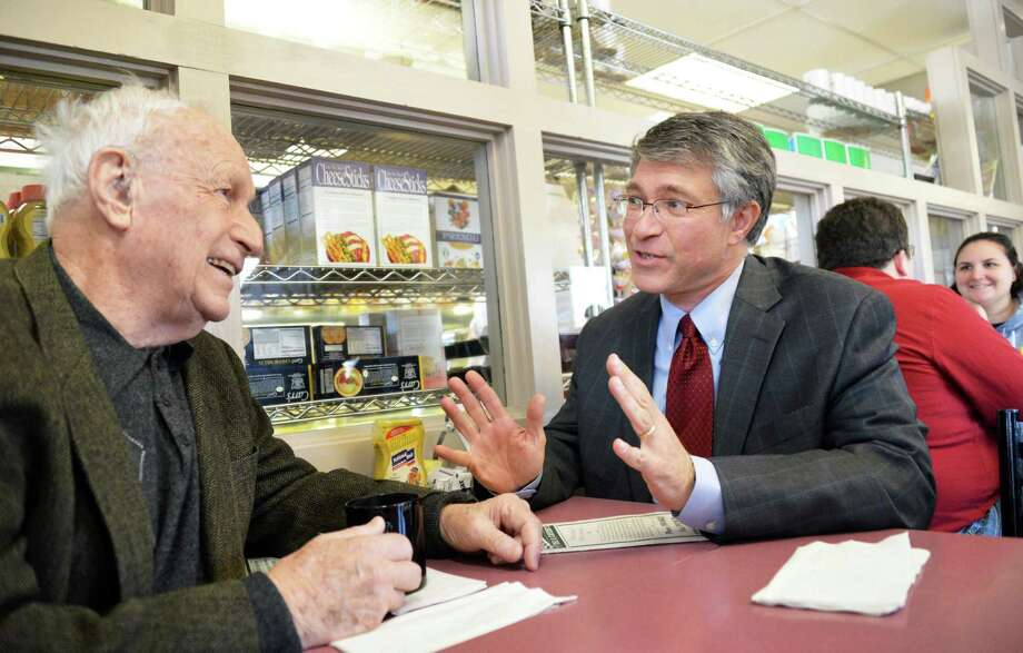 NYS Assembly candidate Phillip Steck lunches with his father Ernie Steck, at left, at Gershon's Deli in Schenectady Tuesday Nov. 6, 2012.  (John Carl D'Annibale / Times Union) Photo: John Carl D'Annibale, Albany Times Union / 00019984A