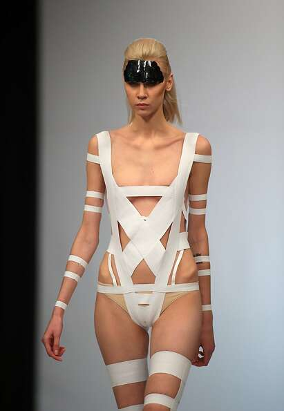 From the Mummy collection: An Olga Kucherenko swimsuit for Belarus Fashion Week appears to be