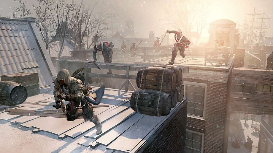 "An assassin flees across the rooftops of colonial New York in ""Assassins Creed III,"" an imaginative game that brings the action closer to home with skewered U.S. history lessons. Photo: Associated Press"