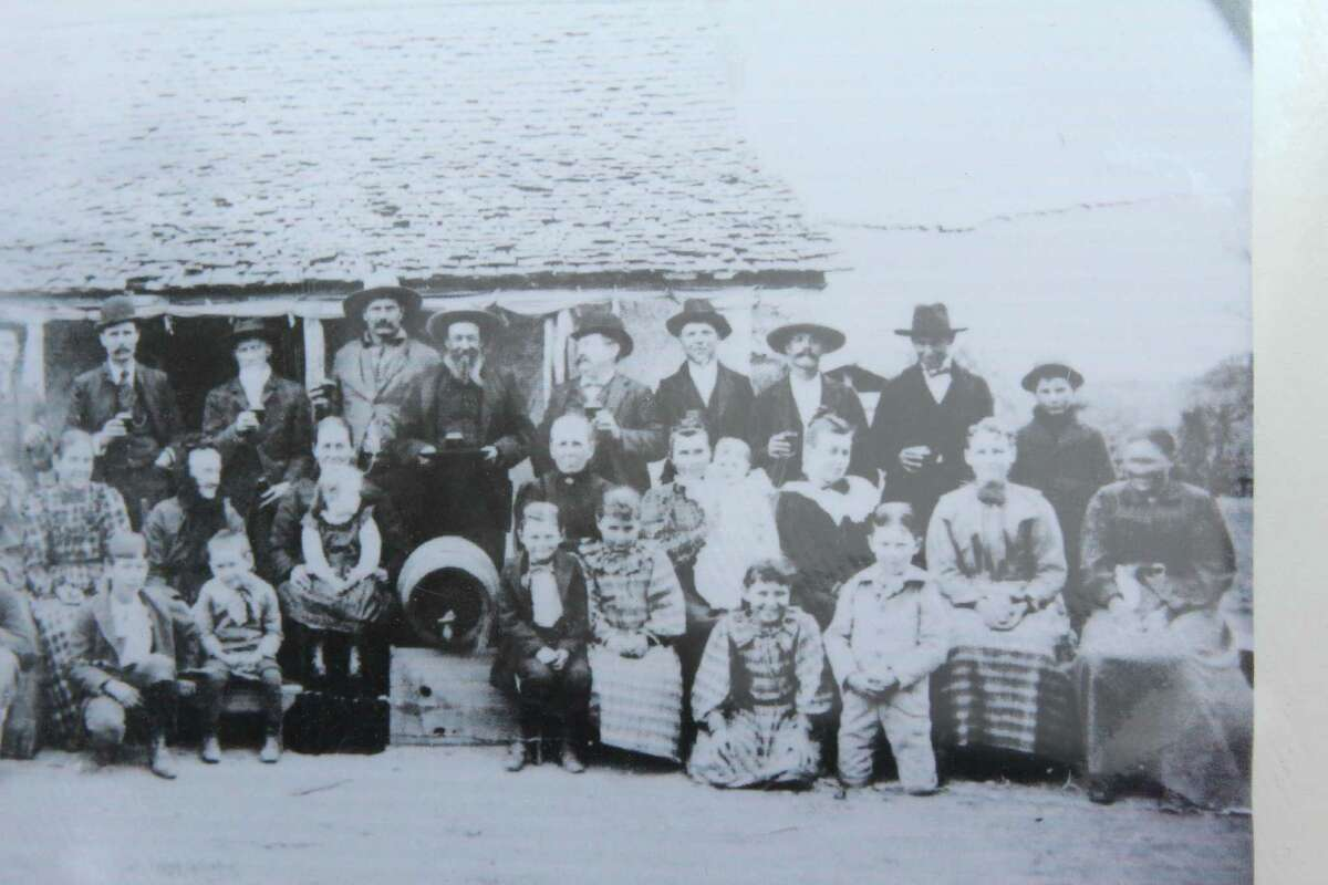 An old photo shows a gathering at the original Evers School, Leon Valley's first, more than a century ago. The Evers were among the founding families in the area.