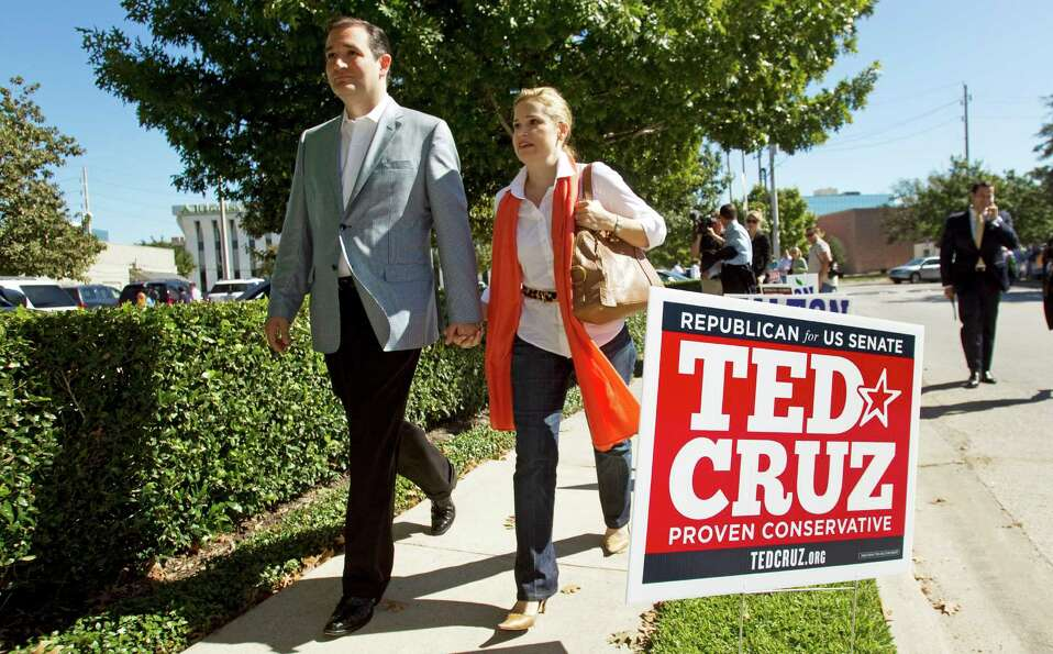 Ted Cruz, Republican candidate for U.S. Senate, left, walks with his wife, Heidi, as they leave a ca