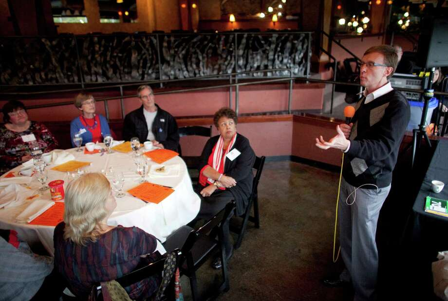 Republican candidate for governor Rob McKenna speaks at the Seattle School Retirees Association monthly meeting in Ballard on Election Day. Photo: JOSHUA TRUJILLO / SEATTLEPI.COM