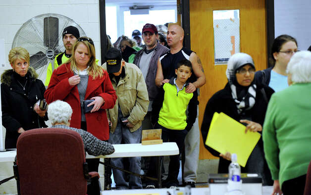 Voting was steady Tuesday afternoon at the Bethel Municiple Center Election Day, Nov. 6, 2012. Photo: Carol Kaliff / The News-Times