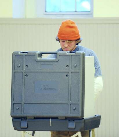 Jimmy Fox votes at the Western Greenwich Civic Center in Glenville, Tuesday afternoon, November 6, 2012. Photo: Bob Luckey / Greenwich Time