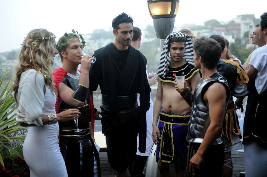 "SILICON VALLEY -- ""Housewarming Toga Party"" -- Pictured: (l-r) Hermione Way, Jay Holanda, Ben Way -- (Photo by: David Moir/Bravo) Photo: David Moir, Bravo / 2012 Bravo Media, LLC."