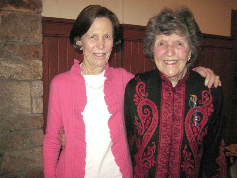 Bunny Weicker, left, was recently named winner of the Family Centers' 2012 Helen Gratz Rockefeller Outstanding Volunteerism Award. Here she is congratulated by Joan Warburg, Lifetime Member of the Family Centers Board of Directors. Photo: Contributed Photo