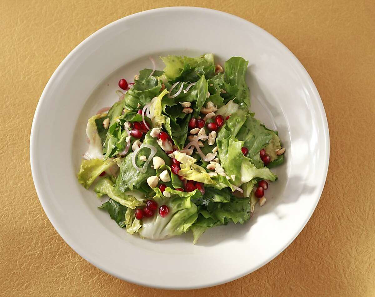 Escarole Salad With Pomegranates & Hazelnuts