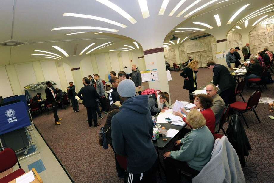 The polling place at the University at Albany in Albany, NY Tuesday Nov. 6, 2012. (Michael P. Farrell/Times Union) Photo: Michael P. Farrell, Albany Times Union