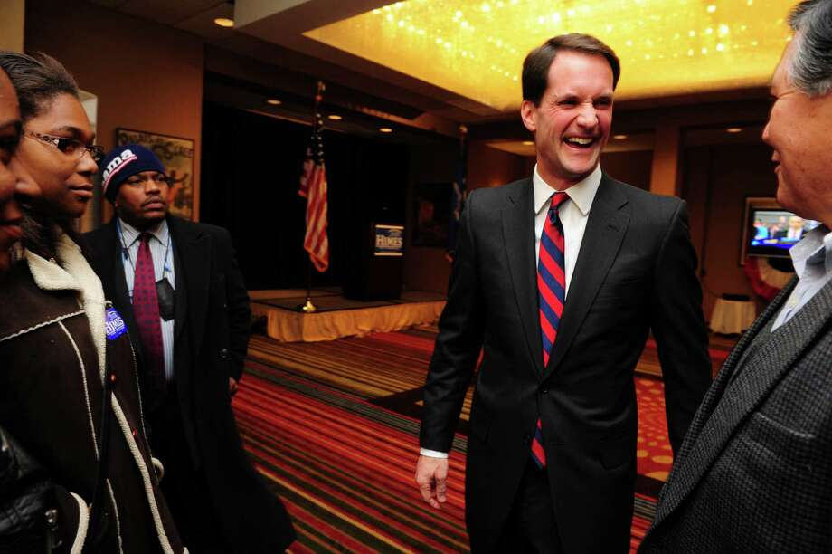 Congressman Jim Himes (D-4th) talks to supporters Tuesday, Nov. 6, 2012 at the Holiday Inn in Bridgeport, Conn. Photo: Autumn Driscoll / Connecticut Post