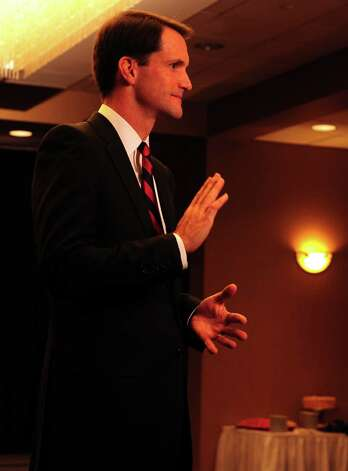 Congressman Jim Himes (D-4th) talks to the media Tuesday, Nov. 6, 2012 at the Holiday Inn in Bridgeport, Conn. Photo: Autumn Driscoll / Connecticut Post