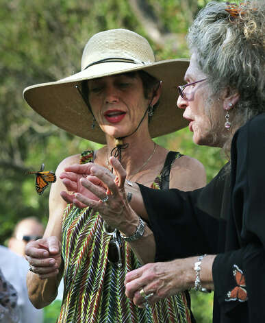 "Maraleen Manos-Jones, right, known as the ""Butterfly Lady"", and Monika Maeckle releases a monarch at the San Antonio Botanical Garden that had lost it's way in Albany. Southwest Airlines flew the monarch and ""Butterfly Lady"" to San Antonio in hopes that it will find it's way to the monarch's winter home in the mountains of Mexico. Monday, Nov. 5, 2012. (Bob Owen / San Antonio Express-News) Photo: Bob Owen / © 2012 San Antonio Express-News"