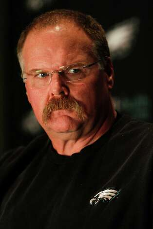 Philadelphia Eagles head coach Andy Reid pauses while speaking during a media availability at their NFL football training facility Tuesday, Nov. 6, 2012 in Philadelphia. Reid could be entering his final weeks as coach of the Eagles. The Eagles are a mess and there's little hope in sight after their latest debacle in New Orleans. (AP Photo/ Joseph Kaczmarek) Photo: Joseph Kaczmarek