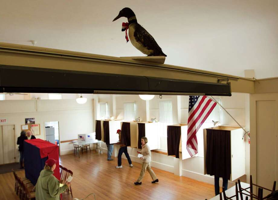 A stuffed loon overlooks voters in the Old Town Hall, Tuesday, Nov. 6, 2012, on Westport Island, Maine. Photo: Robert F. Bukaty, Associated Press / AP