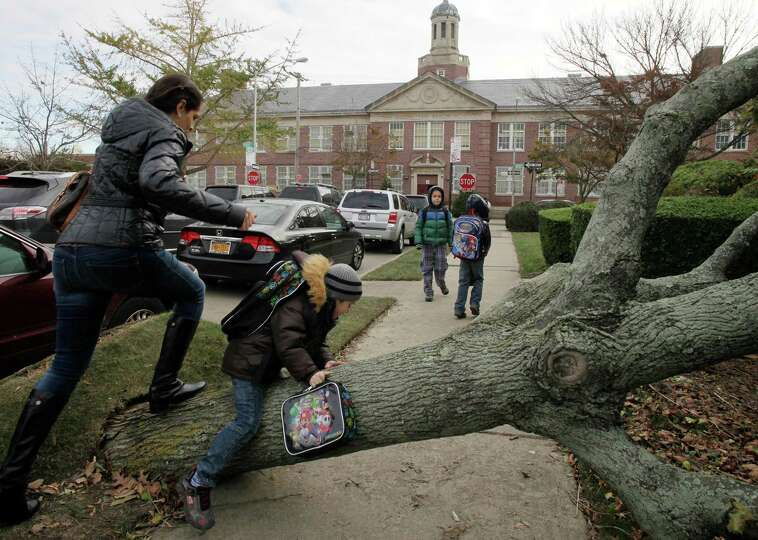 A woman and her son scramble over a tree toppled by Superstorm Sandy as she accompanies him to Publi