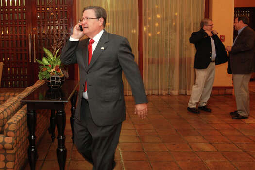 """U.S. Rep. Francisco """"Quico"""" Canseco, arrives at the Holiday Inn Airport on Election Night after the polls closed, Tuesday, Nov. 6, 2012. Canseco headed up to a """"war room,""""  to watch the election. He is scheduled to meet with supporters later on in the evening. Canseco is in a race with Democrat St. Rep. Pete Gallego, D-Alpine. Photo: Jerry Lara, San Antonio Express-News / © 2012 San Antonio Express-News"""