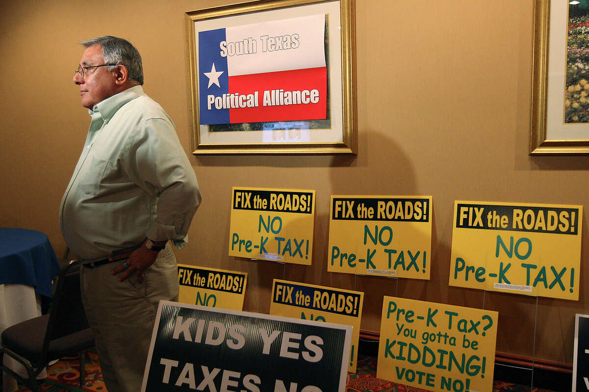 George Rodriguez of the South Texas Alliance for Progress, which had opposed the Pre-K 4 SA initiative, talks with members of the media on election night. Opponents had hoped to defeat the proposal with 55 percent of the vote.