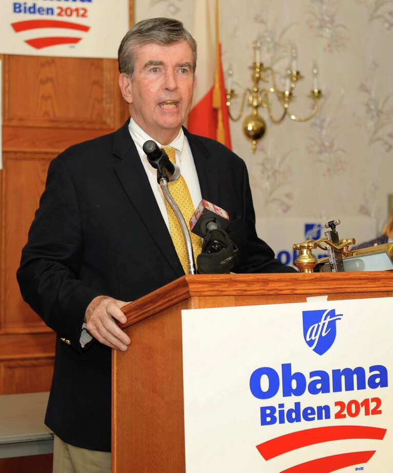 New York State Senator Neil Breslin speaks to fellow Albany County democrats at the Polish American Citizen's Club on election night Tuesday, Nov. 6, 2012 in Albany, N.Y.  (Lori Van Buren / Times Union) Photo: Lori Van Buren, Albany Times Union / 00019989A