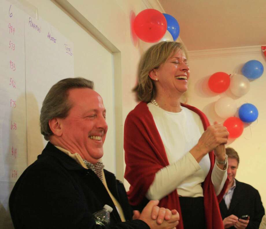 Terrie Wood celebrating her victory as State Representative for Disctrict 141 at the Republican Town Committee Headquarters in Darien. Nov. 6, 2011. Photo: Megan Davis