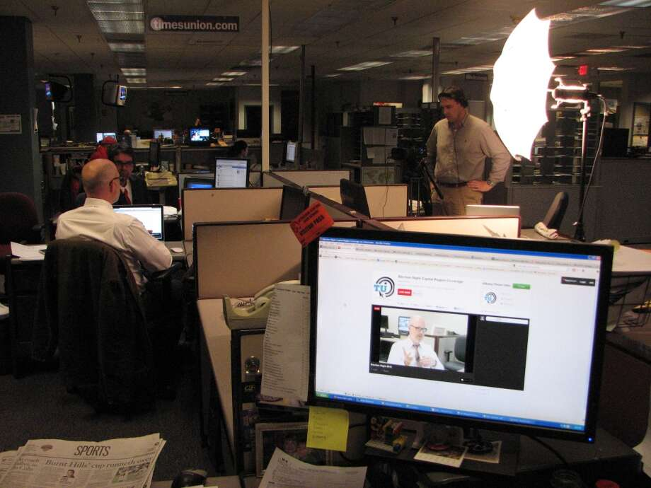 Reporter Mark McGuire hosts a livestream with newsroom staff on Election Night. Here we see Casey Seiler being interviewed.