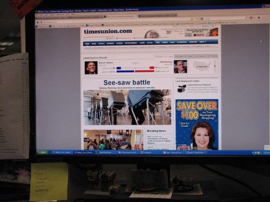 Screenshot. Timesunion.com at 8:30 p.m. on Election Night 2012.