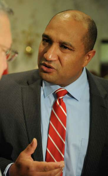 Allbany District Attorney David Soares talks to democratic supporters at the Polish American Citizen