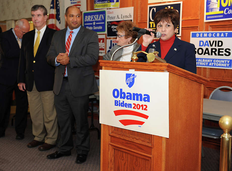 Town of Colonie Supervisor Paula Mahan talks to democratic supporters at the Polish American Citizen's Club on election night Tuesday, Nov. 6, 2012 in Albany, N.Y. On stage with her are, from left, cnadidates Congressman Paul Tonko, Senator Neil Breslin and Albany District Attorney David Soares. (Lori Van Buren / Times Union) Photo: Lori Van Buren, Albany Times Union