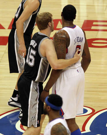 Spurs' Matt Bonner (15) intentionally fouls Los Angeles Clippers' DeAndre Jordan (06) in the first half of game four of the Western Conference semifinals at the Staples Center in Los Angeles on Sunday, May 20, 2012. Kin Man Hui/Express-News Photo: Kin Man Hui, SAN ANTONIO EXPRESS-NEWS / San Antonio Express-News