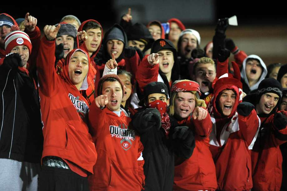 Guilderland fans cheer during the Class AA Section II girls' soccer finals against Bethlehem on Tuesday, Nov. 6, 2012 in Stillwater, N.Y.  (Lori Van Buren / Times Union) Photo: Lori Van Buren