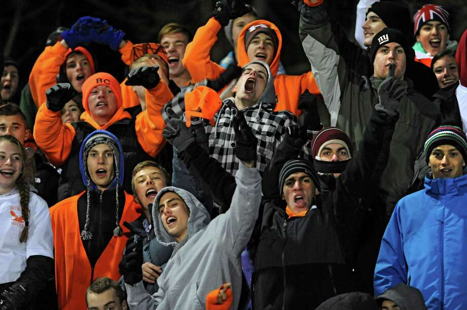 Bethlehem fans cheer during the Class AA Section II girls' soccer finals against Guilderland on Tuesday, Nov. 6, 2012 in Stillwater, N.Y.  (Lori Van Buren / Times Union) Photo: Lori Van Buren