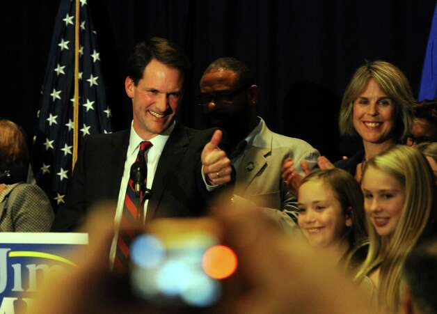 Congressman Jim Himes (D-4th) talks to supporters after defeating Republican Steve Obsitnik Tuesday, Nov. 6, 2012 at the Holiday Inn in Bridgeport, Conn. Photo: Autumn Driscoll / Connecticut Post