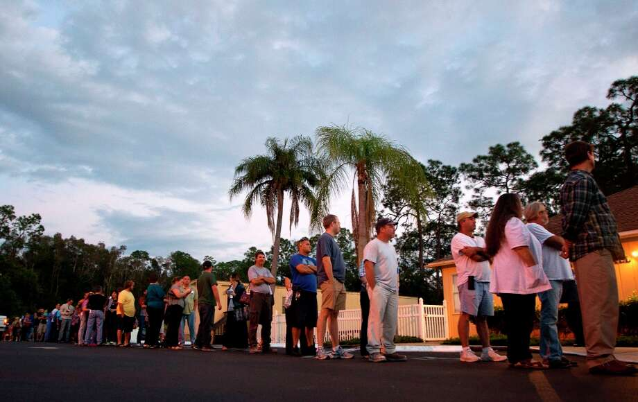 Voters stand in line at a Fort Myers, Fla. church late Tuesday, Nov. 6, 2012. After a grinding presidential campaign President Barack Obama and Republican presidential candidate, former Massachusetts Gov. Mitt Romney, yield center stage to American voters Tuesday for an Election Day choice that will frame the contours of government and the nation for years to come. Photo: J Pat Carter, Associated Press / AP