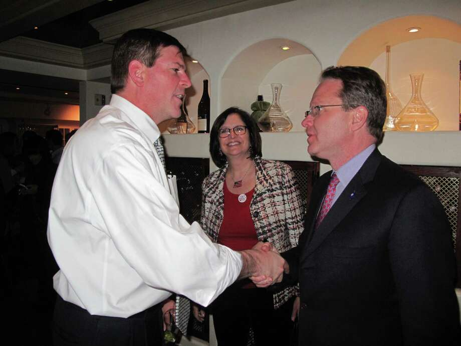 Republican Tom O'Dea accepts Democrat Mark Robbins's concession shortly after 10 p.m. Tuesday night. Photo: Tyler Woods