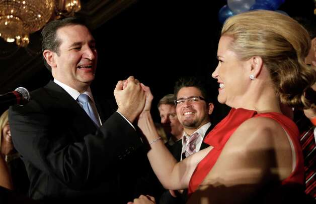 Republican candidate for U.S. Senate Ted Cruz, left, and his wife Heidi celebrate during a victory speech Tuesday, Nov. 6, 2012, in Houston. Cruz defeated Democrat Paul Sadler to replace retiring U.S. Sen. Kay Bailey Hutchison. (AP Photo/David J. Phillip) Photo: David J. Phillip, Associated Press / AP