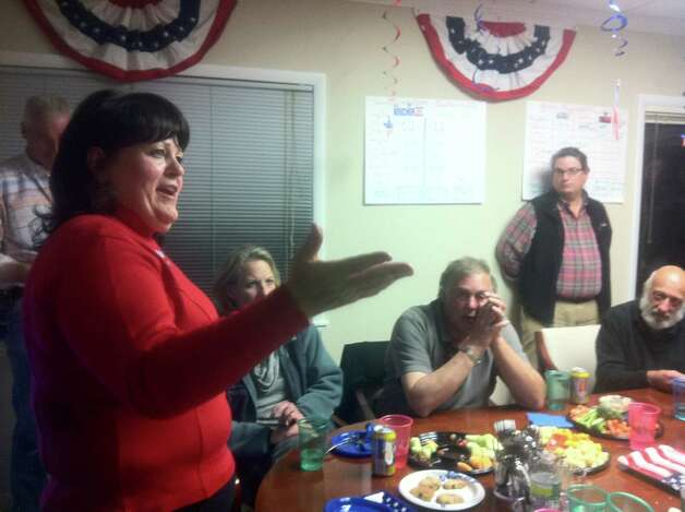 Republican Town Committee Chairman Desiree Soli addresses party members at their headquarters Tuesday night. Westport voters favored GOP candidates in the 26th Senate District and 143rd House District, although results from other communities were needed before winners could be declared. Photo: Paul Schott / Westport News