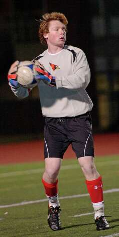 Greenwich high school goalie Emmett Clarke during the FCIAC boy's soccer semifinal game against Ridgefield high school held at Fairfield Ludlowe high school, Fairfield, CT on Tuesday November 6th, 2012. Photo: Mark Conrad / Stamford Advocate Freelance